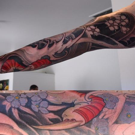 Tattoos - Dragon, koi and cherry blossom sleeve - 102328