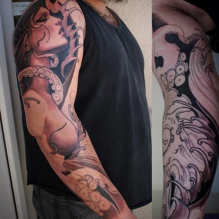 Octopus and girl sleeve Tattoo Design Thumbnail