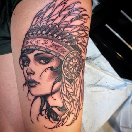 Tattoos - Indian girl with headdress - 102332
