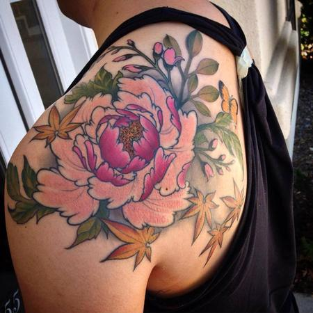 Peony and floral shoulder piece Tattoo Design