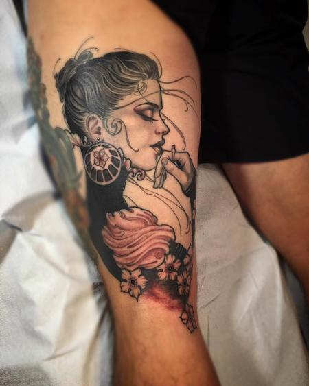 Tattoos - Victorian Lady on David from SD - 112065