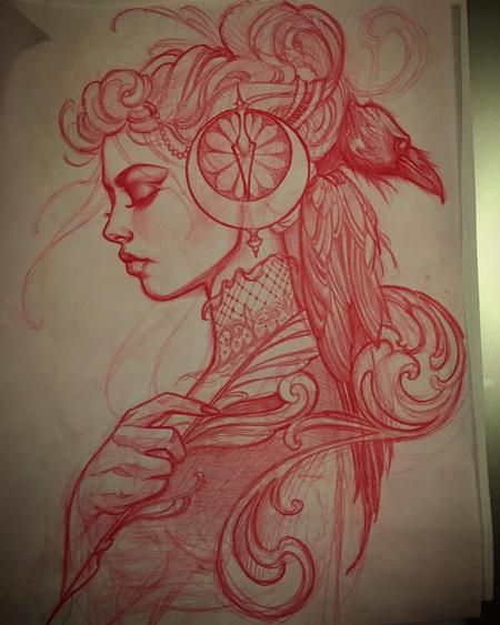 Tattoos - Red pencil sketch - 115434