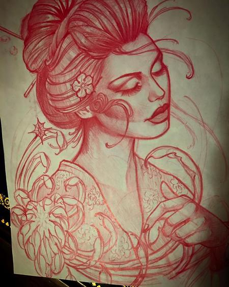 Tattoos - Red pencil sketch - 115435