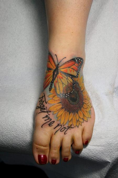 f2ef9e452 Jeff Norton - Butterfly, sunflower and forget me not. Keyword Galleries:  Color Tattoos ...