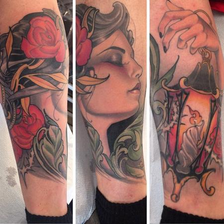 Tattoos - Girl, lantern, roses leg sock - 104579