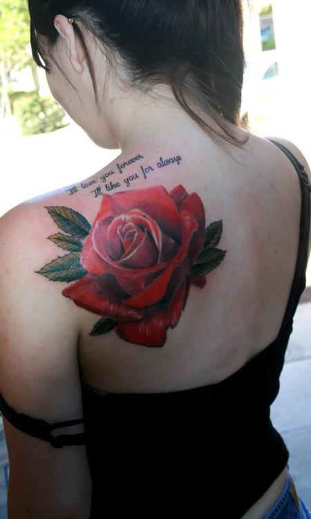 Tattoos - Realistic Rose  - 91987