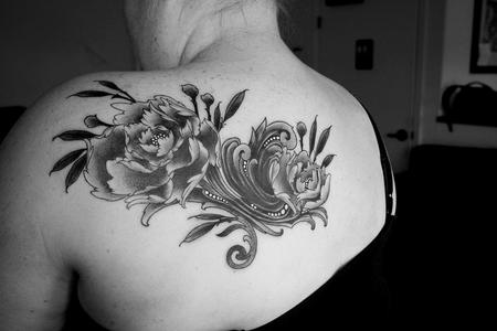 Black and grey peony coverup  Tattoo Design Thumbnail