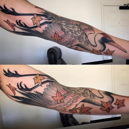 Tattoos - Japanese crane on arm - 126868