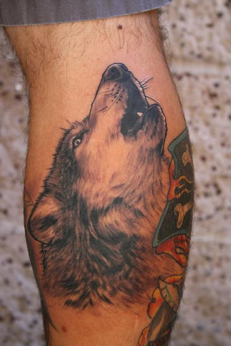 Tattoos - Howling wolf portrait on calf - 76187
