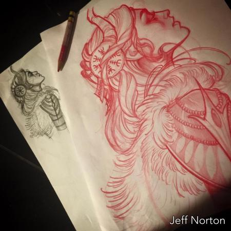 Tattoos - Red pencil sketch - 115432