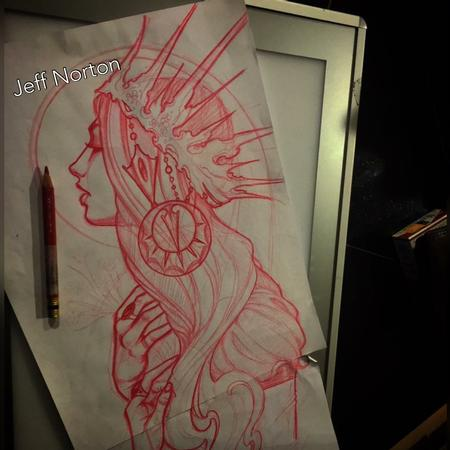 Jeff Norton - Red pencil sketch