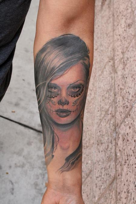 Tattoos - Day of the dead black and grey portrait  - 87442