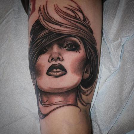 Tattoos - Lady head, inner arm  - 108603