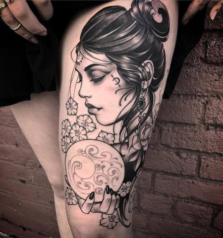 Tattoos - seer fortune teller on thigh - 129142