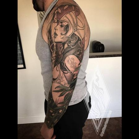 Jeff Norton - Athena and owl sleeve in progress