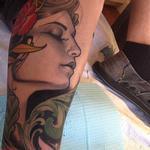 girl and lantern leg sock Tattoo Design Thumbnail