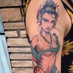 geisha mermaid Tattoo Design Thumbnail