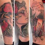 Girl, lantern, roses leg sock Tattoo Design Thumbnail