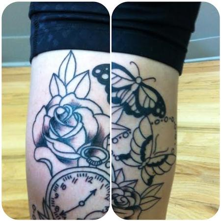 roses and pocketwatch in progress Tattoo Design Thumbnail