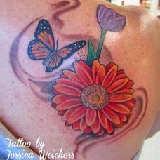 Tattoos - Pretty floral and Butterfly piece - 90005