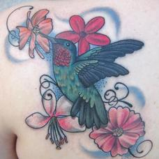 Tattoos - Feminine hummingbird and floral piece - 90008