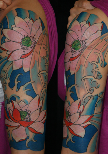 Lotus half sleeve water motif by john biswell tattoonow for Lotus sleeve tattoo