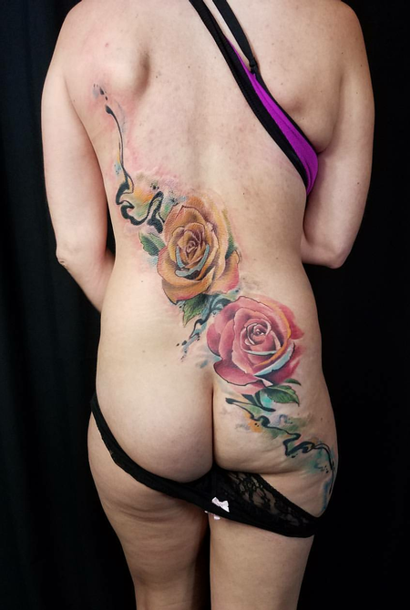 John Highland - Watercolor Floral Back Tattoo