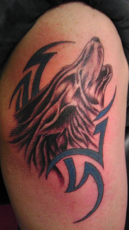 Tattoos - Tribal with Wolf head - 83990