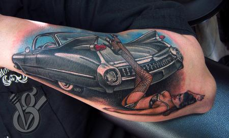 Jon von Glahn - 1959 Cadillac hot rod with pin up color arm tattoo