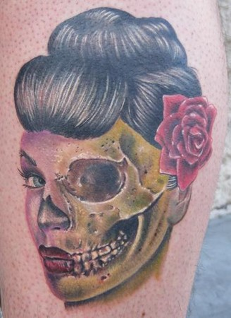 girl skull tattoos. Zombie Geisha Girl Tattoo