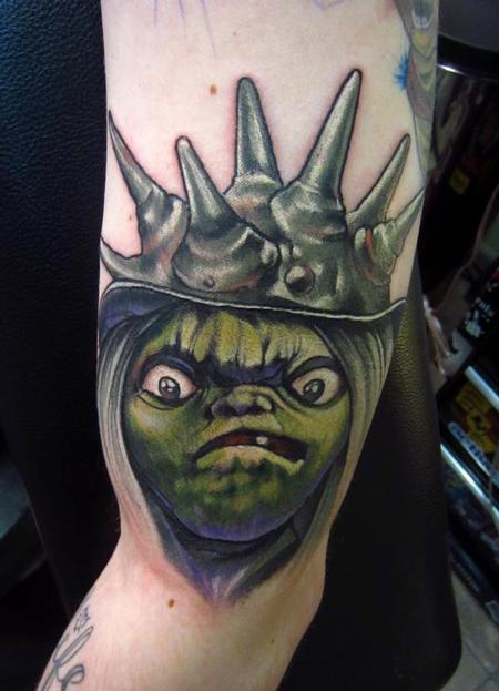 Jon von Glahn - The Labyrinth Jim Henson goblin puppet david bowie fantacy film arm color tattoo