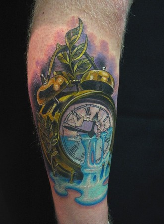 running tattoos gallery. Comments: This vintage alarm clock represents time running out done on