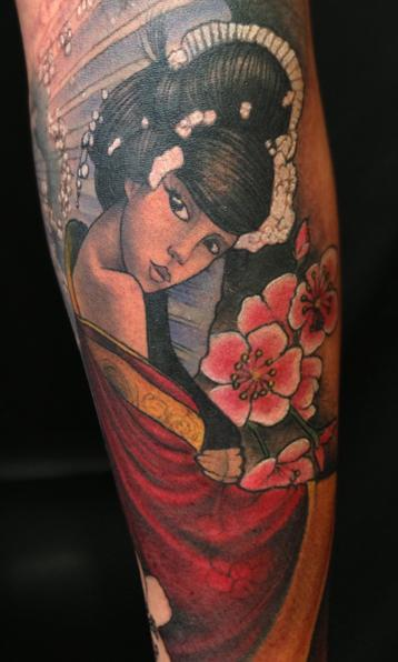 Jon von Glahn - japanese geish girl color arm sleeve tattoo