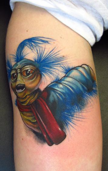 Jon von Glahn - Labyrinth movie worm guy david bowie jim henson fantacy film color arm tattoo