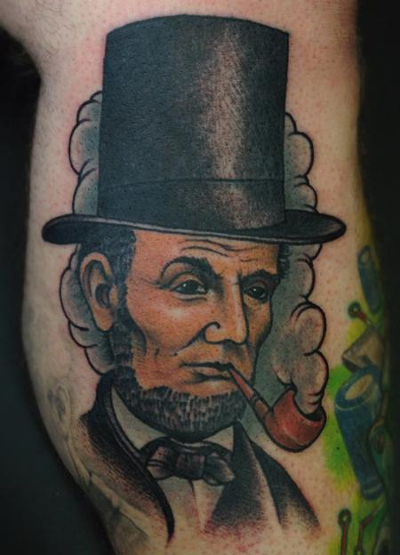 Jon von Glahn - Abraham Lincoln honest abe color leg tattoo