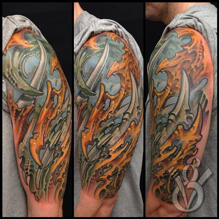 biomech bio organic color half sleeve tattoo arm Tattoo Design Thumbnail
