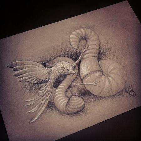 Bird vs worm by jon von glahn tattoonow for Tattoo shops in st cloud mn