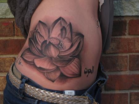 Tattoos - Jon von Glahn - Lotus flower black and grey side girl tattoo