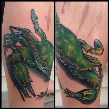 blue crab mexico female leg tattoo Tattoo Design Thumbnail