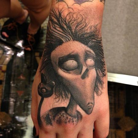 buton tim vincent black and grey hand tattoo Tattoo Design