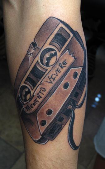 cassette tape tattoo. Vintage beat up cassette tape