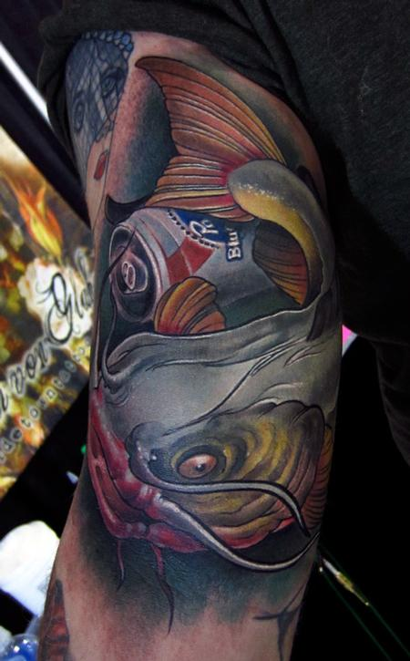 Jon von Glahn - catfish pabst blue ribbon color arm tattoo