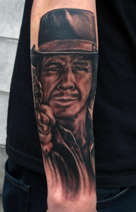 Charles Bronson black and grey portrait arm tattoo Tattoo Design Thumbnail