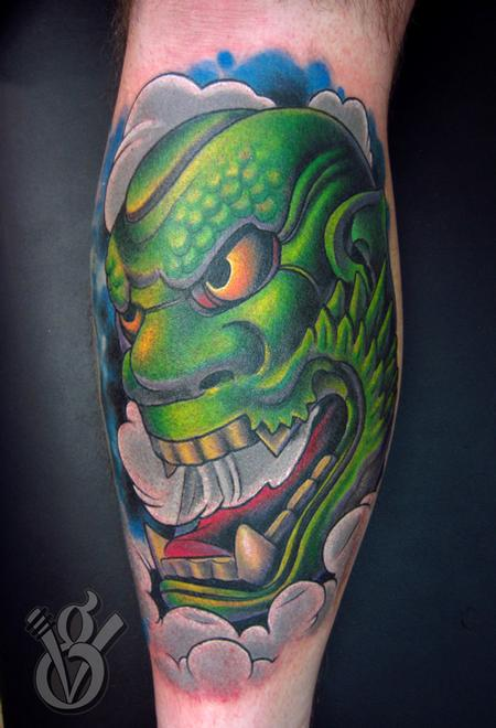 Jon von Glahn - japanese oni hanya noh mask color leg tattoo