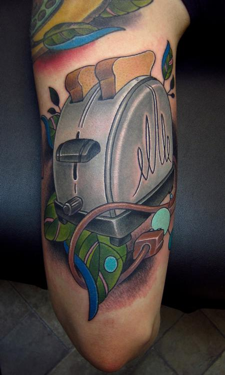 old vintage toaster with toast and cord wrapping color arm tattoo halfsleeve Tattoo Design Thumbnail