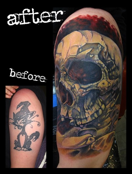 skull tattoos arm. skull cover up arm color