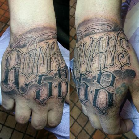 Tattoos - freehand script handjammer - 115462