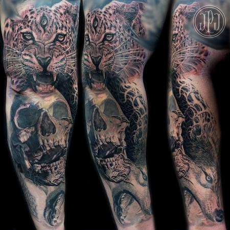Tattoos - Jaguar Skull Wolf Sleeve - 99250