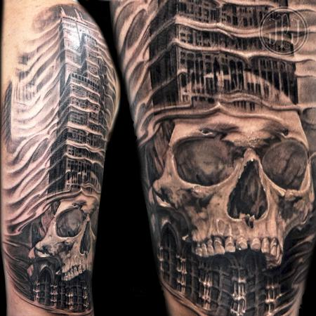 Skull and Chicago Sears Tower Tattoo Design Thumbnail
