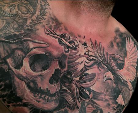 Tattoos - Skull, Dove and Olive Branch - 116894